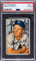 Baseball Cards:Singles (1950-1959), 1952 Bowman Mickey Mantle #101 PSA Good 2....
