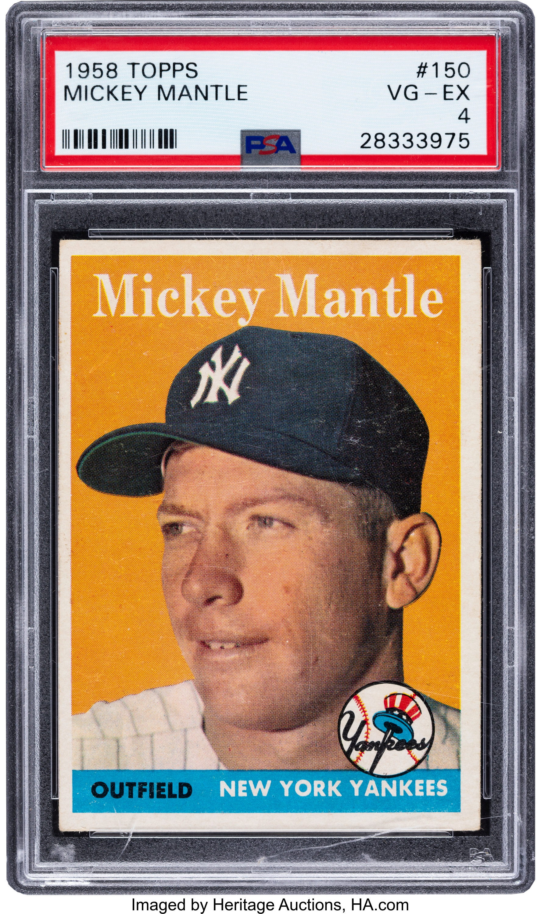 1958 Topps Mickey Mantle 150 Psa Vg Ex 4 Baseball Cards Lot