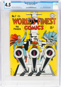 Golden Age (1938-1955):Superhero, World's Finest Comics #7 (DC, 1942) CGC VG+ 4.5 Off-white to white pages....