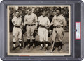 Baseball Collectibles:Photos, 1927 Babe Ruth & Lou Gehrig Exchange World Series Pleasantrieswith The Waner Brothers Original Photograph, PSA/DNA Type 1.