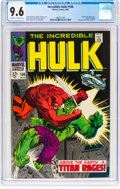 Silver Age (1956-1969):Superhero, The Incredible Hulk #106 (Marvel, 1968) CGC NM+ 9.6 Off-wh...