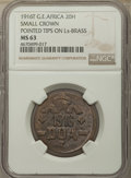 "German East Africa, German East Africa: German Colony. Wilhelm II ""Small Crown"" 20 Heller 1916-T MS63 NGC,..."
