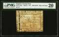 Colonial Notes:Virginia, Virginia March 1, 1781 $500 printed on thin laid paper PMG VeryFine 20.. ...