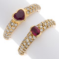 Estate Jewelry:Rings, Ruby, Diamond, Gold Ring. ... (Total: 2 Items)