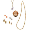 Estate Jewelry:Lots, Amethyst, Coral, Shell Cameo, Cultured Pearl, Maybe Pearl, GoldJewelry . ... (Total: 7 Items)