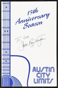 "Movie Posters:Rock and Roll, Austin City Limits (1989). Very Fine. Autographed 15th AnniversarySeason Program (3 Pages, Folded: 5.5"" X 8.5"" Unfolded: 11..."
