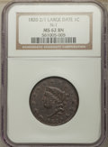 Large Cents, 1820/19 1C N-1, R.1, MS62 Brown NGC. NGC Census: (3/12). PCGS Population: (3/20). MS62. Mintage 4,407,550....