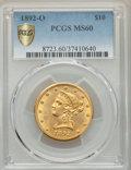 Liberty Eagles, 1892-O $10 MS60 PCGS. PCGS Population: (106/395 and 0/6+). NGC Census: (119/450 and 0/3+). CDN: $1,050 Whsle. Bid for probl...