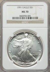 1991 $1 Silver Eagle MS70 NGC. NGC Census: (598). PCGS Population: (41). Mintage 7,191,066. ...(PCGS# 9846)
