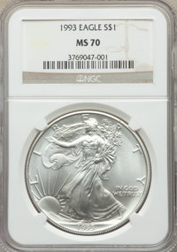1993 $1 Silver Eagle MS70 NGC. NGC Census: (263). PCGS Population: (19). ...(PCGS# 9866)