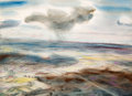 Fine Art - Work on Paper, Peter Hurd (American, 1904-1984). Landscape from a Flying Fortress, England, 1942. Watercolor on paper. 9-3/4 x 13-1/2 i...