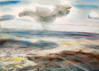 Peter Hurd (American, 1904-1984) Landscape from a Flying Fortress, England, 1942 Watercolor on paper