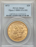 Liberty Double Eagles, 1873 $20 Open 3, Doubled Die Obverse, FS-101, MS61 PCGS. PCGSPopulation: (68/122). NGC Census: (15/55). MS61. ...