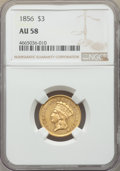 Three Dollar Gold Pieces: , 1856 $3 AU58 NGC. NGC Census: (250/140). PCGS Population: (87/159). CDN: $1,500 Whsle. Bid for problem-free NGC/PCGS AU58. ...