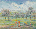 Fine Art - Painting, European:Contemporary   (1950 to present), Hughes Claude Pissarro (French, b. 1935). Le plan Cheneviére àla Masquerie. Oil on canvas. 19-3/4 x 23-3/4 inches (50.2...