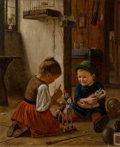 Fine Art - Painting, European:Antique  (Pre 1900), Theodor Kleehaas (German, 1854-1954). The Christmas toys,1889. Oil on canvas. 32 x 25-3/4 inches (81.3 x 65.5 cm). Sign...