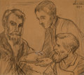Works on Paper, Maximilien Luce (French, 1858-1941). Trois hommes, 1892. Charcoal on paper. 10-3/4 x 12-1/8 inches (27.3 x 30.8 cm) (sig...
