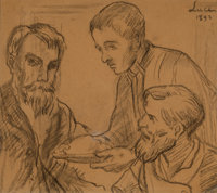 Maximilien Luce (French, 1858-1941) Trois hommes, 1892 Charcoal on paper 10-3/4 x 12-1/8 inches (