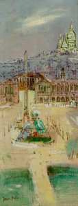 Fine Art - Painting, European:Modern  (1900 1949), Jean Dufy (French, 1888-1964). Place de la Concorde. Oil oncanvas. 19-1/2 x 7-3/4 inches (49.5 x 19.7 cm). Signed lower...