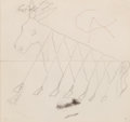 "Post-War & Contemporary:Abstract Expressionism, Alexander Calder (1898-1976). Preliminary drawing for ""Beastie""(Flying Colors engine cowling), 1973. Pencil on paper. 6...(Total: 2 Items)"