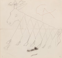"""Alexander Calder (1898-1976) Preliminary drawing for """"Beastie"""" (Flying Colors engine cowling), 1973 Pencil on..."""