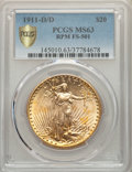 Saint-Gaudens Double Eagles, 1911-D/D $20 FS-501 MS63 PCGS. PCGS Population: (25/328 and 0/27+). NGC Census: (49/267 and 0/21+). MS63....