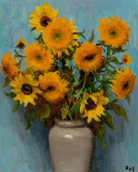 Marcel Dyf (French, 1899-1985) Tournesols au pot Vincent (Sunflowers in a Vincent vase), 1971 Oil on
