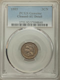 Three Cent Nickels: , 1885 3CN -- Cleaning -- PCGS Genuine. AU Detail. NGC Census: (1/25). PCGS Population: (5/76). CDN: $2,600 Whsle. Bid for pr...