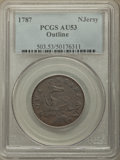 1787 NJERSY New Jersey Copper, Outlined Shield AU53 PCGS. PCGS Population: (14/24). NGC Census: (2/9)