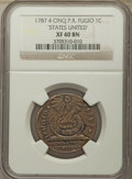Colonials, 1787 CENT Fugio Cent, STATES UNITED, 4 Cinquefoils, Pointed Rays, XF40 NGC. NGC Census: (42/293). PCGS Population: (120/89...