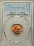 Lincoln Cents: , 1952-S 1C MS67+ Red PCGS. PCGS Population: (187/0 and 25/0+). NGC Census: (432/0 and 6/0+). CDN: $125 Whsle. Bid for proble...
