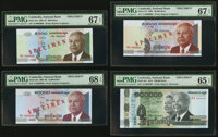 Cambodia National Bank 5000; 10,000; 50,000; 100,000 Riels 2001-2012 Pick 55s; 56s; 57s; 62s Four Specimens PMG Gem Unci...