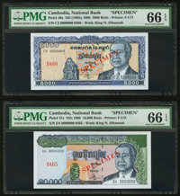 Cambodia National Bank 5000; 10,000; 20,000; 50,000; 100,000 Riels 1995-1998 Pick 46s; 47s; 48s; 49s; 50s Five Specimens...