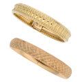 Estate Jewelry:Earrings, Gold Bracelets The pair of 14k gold bracelets ...