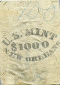 New Orleans Mint Canvas Bag for Silver Dollars. The pale cream-gray bag is printed on the lower front U.S. MINT / $1000...
