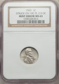 1963 Lincoln Cent -- Struck on a Silver Dime Planchet -- MS63 NGC. 2.5. gm