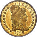Early Half Eagles, 1797/5 $5 Large Eagle, 15 Stars, BD-7, High R.6, MS61 PCGS....