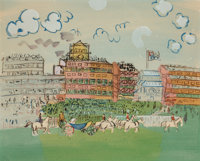 Raoul Dufy (French, 1877-1953) Track at Ascot, 1935 Pochoir in colors on paper 12-3/4 x 15-1/2 inches (32.4 x 39.4 cm