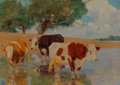 Paintings:Antique  (Pre 1900), Lajos Zombory (Hungarian, 1867-1933). Cows in the Paddy. Oil on canvas. 19 x 27 inches (48.3 x 68.6 cm). Signed lower le...