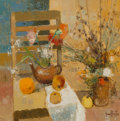Paintings:Contemporary   (1950 to present), Gérard Passet (French, 1936-2013). Still life with Flowers and Fruit, 1963. Oil on canvas. 15-3/4 x 15-3/4 inches (40.0 ...