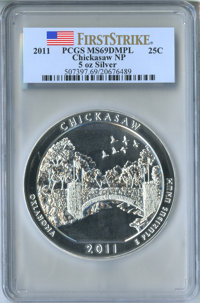 2011 25C Chickasaw, Five Ounce Silver, First Strike MS69 Deep Mirror Prooflike PCGS. PCGS Population: (1914/0). NGC Cens...