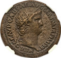 Ancients:Roman Imperial, Ancients: Nero (AD 54-68). AE dupondius (27mm, 13.51 gm, 6h). NGC XF 4/5 - 3/5....