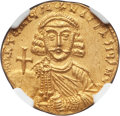 Ancients:Byzantine, Ancients: Anastasius II Artemius (AD 713-715). AV solidus (20mm,4.37 gm, 5h). NGC MS 4/5 - 3/5, clipped....
