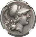 Ancients:Greek, Ancients: CAMPANIA. Cales. Ca. 265-240 BC. AR didrachm (22mm, 7.21gm, 5h). NGC VF 5/5 - 3/5, Fine Style....