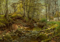 Paintings:Other, Peder Mork Monsted (Danish, 1859-1941). A forest stream, 1905. Oil on canvas. 32 x 46-1/4 inches (81.3 x 117.5 cm). Sign...