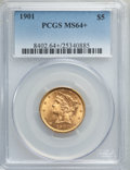 Liberty Half Eagles: , 1901 $5 MS64+ PCGS. PCGS Population: (429/112 and 31/2+). NGC Census: (540/154 and 18/6+). MS64. Mintage 615,900. ...