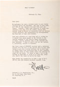 Memorabilia:Miscellaneous, Walt Disney Signed Letter to Bud Shackleford (1944).... (Total: 2Items)