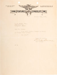 Letter to Ub Iwerks Concerning a Mickey Mouse Newspaper Comic Strip (King Features Syndicate, 1929)