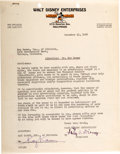 Memorabilia:Disney, Letter to Kay Kamen Signed by Roy O. Disney (Walt Disney, 1935)....