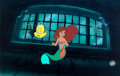 Animation Art:Production Cel, The Little Mermaid Ariel and Flounder Production Cel Setup (Walt Disney, 1989)....